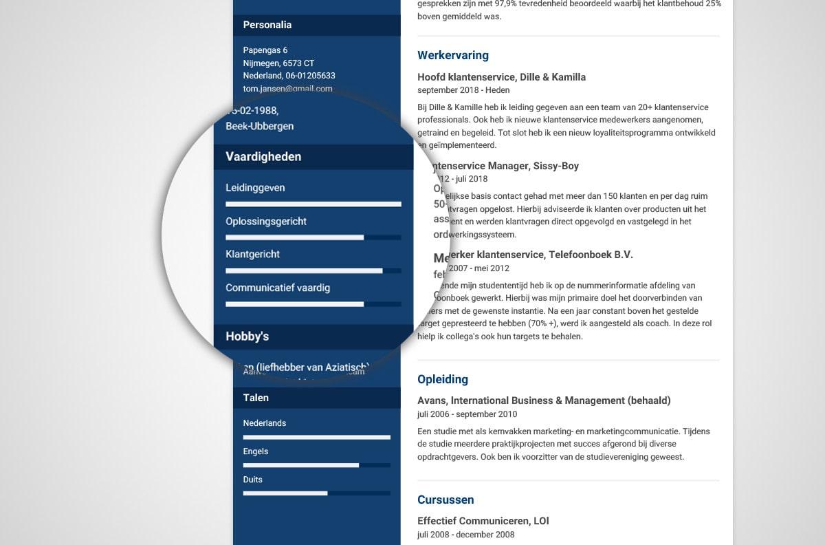 Hoe zet je vaardigheden op je CV