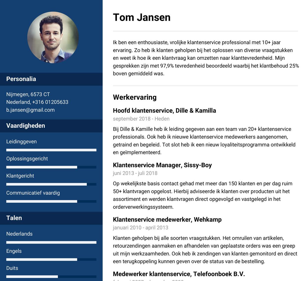 voorbeeld cv klantenservice medewerker